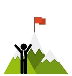 mountain success flag icon vector image