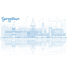 outline georgetown skyline with blue buildings vector image vector image