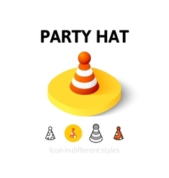 Party hat icon in different style vector image vector image