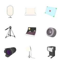 Photo icons set cartoon style vector image vector image