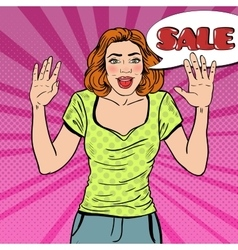 Pop art woman with comic speech bubble sale vector