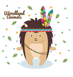 Porcupine woodland animal with feather crown vector