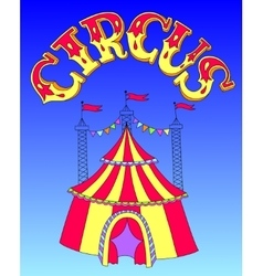 Red and yellow line art drawing of circus tent on vector
