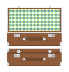 Retro suitcase for travel vector
