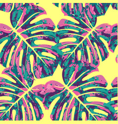 Seamless pattern with monstera leaves vector