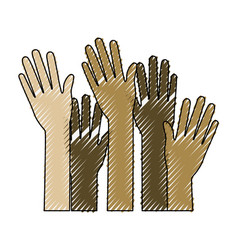 set several arms hands gesture on color crayon vector image