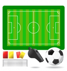 Soccer field ball and objects vector