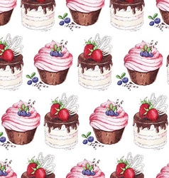 Watercolor seamless pattern blueberries cupcakes vector