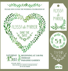 Wedding invitation setgreen watercolor branches vector