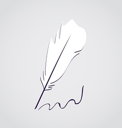 White feather calligraphic pen vector image