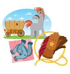 Wild west wagon horse lasso and horseshoes vector