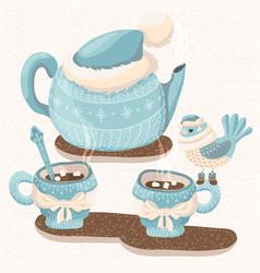 Winter with teapot mugs and bird vector