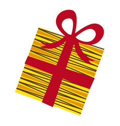 yellow box gift with red ribbon vector image