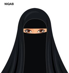 - black niqab beautiful arabic muslim woman vector