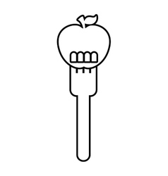 Fork with apple fresh fruit icon vector