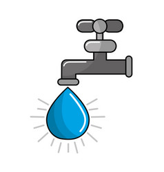 Faucet with drop of water icon vector