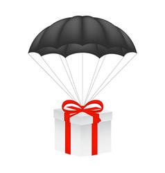 gift box at black parachute vector image