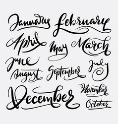 January and december hand written typography vector