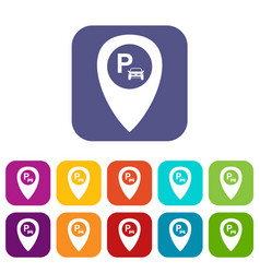 Map pointer with car parking icons set vector