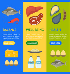 Cartoon food with vitamin b12 banner vecrtical set vector