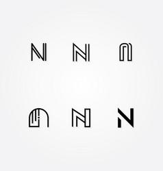 various letter n big logo typo pack vector image