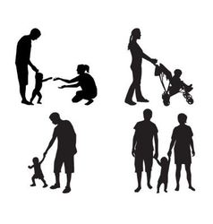 Silhouettes of families with children vector
