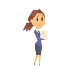 Businesswoman character in formal wear carrying vector