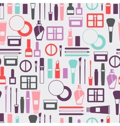 Seamless background with cosmetics icons vector