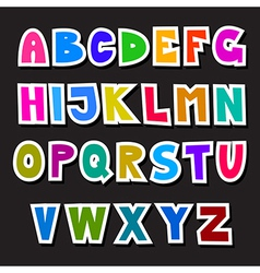 Colorful funny alphabet set isolated on black vector