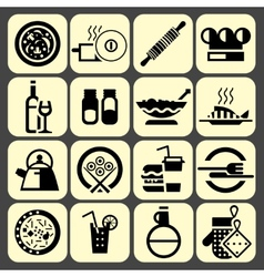 Cooking food icons set black vector image