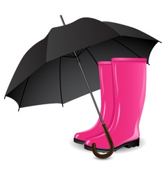 Rainboots and an umbrella vector