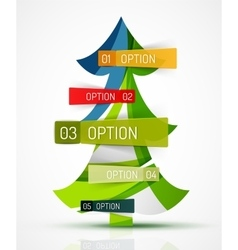 Merry christmas tree with stickers vector