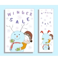 Winter sale banner with cute girl vector