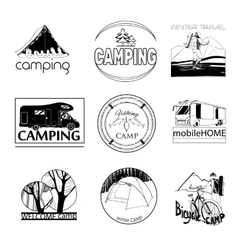 Set of camp labels and logo graphics stamp print vector