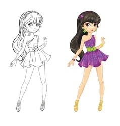 Coloring book of brunette girl vector