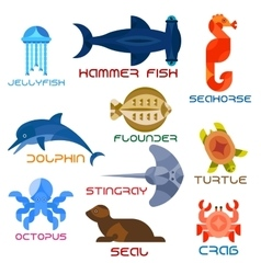 Marine animals colorful icons in flat style vector