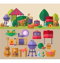 Barbeque outdoors object set vector