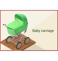 Baby carriage isometric flat vector