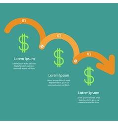 Timeline infographic dollar sign icon three step vector