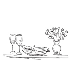 Hand drawn dinner flowers and dishes vector