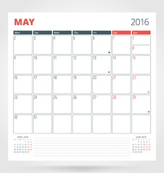 Calendar planner for 2016 year may design print vector