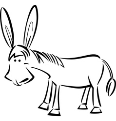 Cartoon of donkey for coloring vector