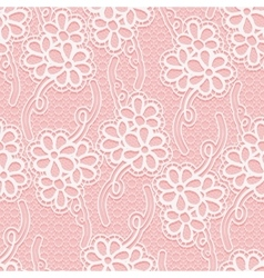 Seamless floral white lace pattern repeating vector