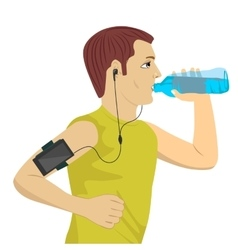 Male runner drinking water vector
