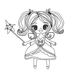beautiful little fairy - doodle graphic vector image