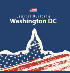 Capitol building in washington dc with usa flag vector