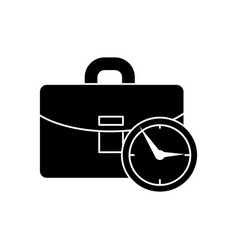 case business with time icon vector image