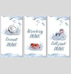 coconut sweet strawberry and cold fruit drinks vector image