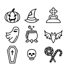 Collection of nine halloween icons vector image