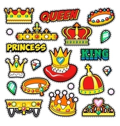 Crowns golden decorative elements for stickers vector